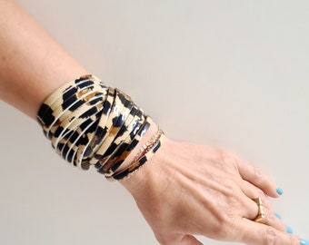 Sliced Leather Wrap Bracelet Multi-Strand Leather Bangle, Leopard Print Patent Genuine Leather Printed Leather Cuff