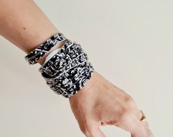 Sliced Leather Wrap Bracelet Multi-Strand Leather Bangle, Black and White Genuine Leather Printed Leather Cuff