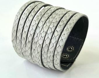 Multi Strand  Leather  Bracelet Gray Snakeskin Texture  Genuine Leather Cuff