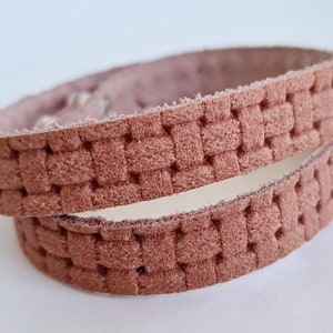 Double  Wrap Leather  Bracelet Snaskin Texture Genuine Leather Red and White Embossed  Leather