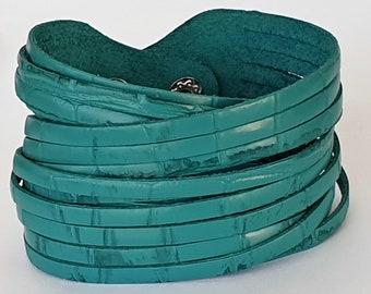 Teal Croc Leather Wrap Bracelet Multi-Strand Leather Cuff, Alligator Texture  Teal Genuine Leather