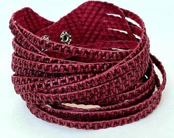 Sliced Leather Wrap Bracelet Multi-Strand Leather Bangle, Burgundy Genuine Leather Printed Leather Cuff