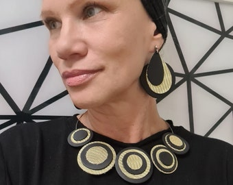 Statement Jewelery  Handmade African Style Jewelery Gold and Black Leather Necklace Leather Jewelry Handmade