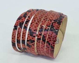 Multi Strand  Leather  Bracelet Rad and Black Snakeskin Print  Genuine Leather Cuff