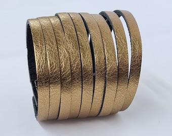 Multi Strand  Leather  Bracelet Metallic Blonze  Genuine Leather Cuff