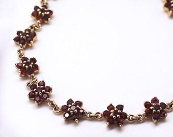 Vintage Garnet Bracelet - Yellow Gold Flower Setting, 10k Gold Bracelet, 7 inches, Delicate Feminine Fine Estate Jewelry Piece