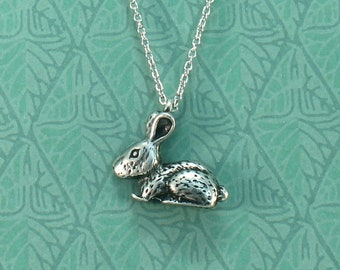 Rabbit Necklace - Antique Silver Bunny Charm, Adjustable Steel Cable Chain