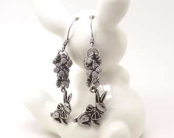Rabbit Earrings – Bunny Lover Gift, Pewter Charms, Flower Drops, Animal Jewelry