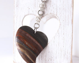 Heart Keychain -  Tiger Iron Jasper, Charcoal Gray, Red Stone Bead, Chainmaille Chain, Oval Steel Keyring