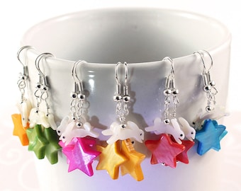 White Rabbit Earrings - Mother of Pearl Stars in Blue, Pink, Red, Orange, Yellow or Green
