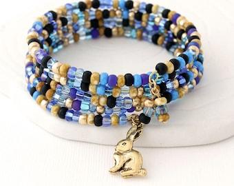 Blue & Gold Beaded Wrap Bracelet - Pewter Rabbit Charm, Bunny Jewelry