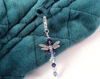 Crystal Dragonfly Charm - Woodland Creature Zipper Pull, Peridot Green, Tanzanite, Deep Purple Velvet Crystals, Silver Wings
