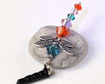Dragonfly Charm - Dust Plug Charm, Hyacinth Orange, Rose Pink, Capri Blue, Silver Wings