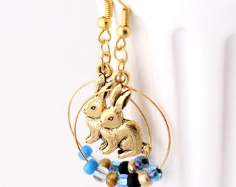 Hoop Earrings - Antique Gold Rabbit Charms, Blue and Gold Seed Beads, Bunny Jewelry