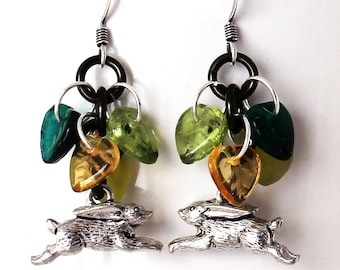 Running Rabbit Earrings - Green and Golden Yellow Leaves, Bunny Jewelry
