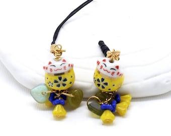Maneki Neko Phone Charms - Sunny Yellow Happy Cat,  Lucky Cat Bead, Headphone Jack Dust Plug, Lanyard or Swivel Clasp for a Purse Charm