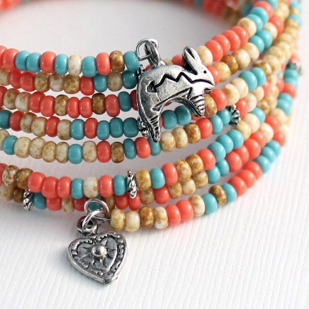 Memory Charm Bracelets: Memory Wire Bracelet Southwest Colors Rabbit Charms