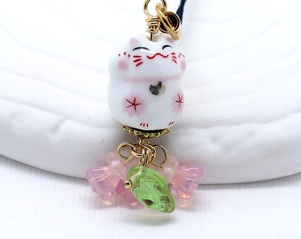 Happy Cat Phone Charm -  White Porcelain Maneki-Neko Bead with Pink Blossom Flowers, Lucky Cat Bead, Pastel Pink Czech Glass Flowers