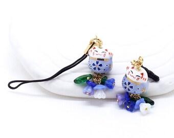 Happy Cat Blues -  Maneki Neko Lucky Cat Bead, Phone Charm / Zipper Pull, Czech Glass Flowers, Choice of Dust Plug, Lanyard or Swivel Clasp