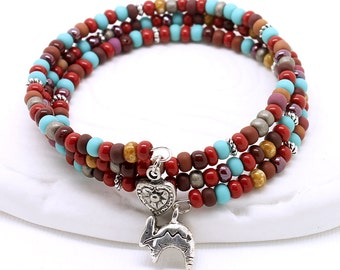 Southwest Colors Cuff - Turquoise Blue, Red, Brown Beads, Memory Wire Bracelet