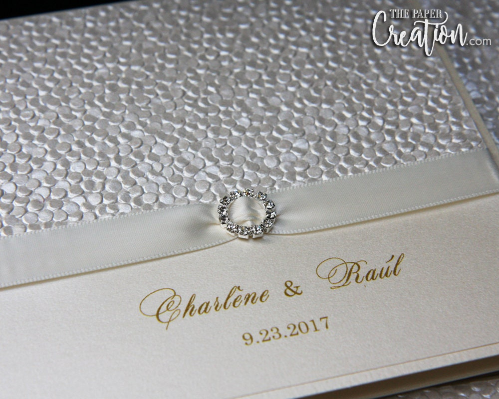 Gold Embossed Wedding Invitations: Ivory Pebble Embossed Wedding Invitation Folded Pocket