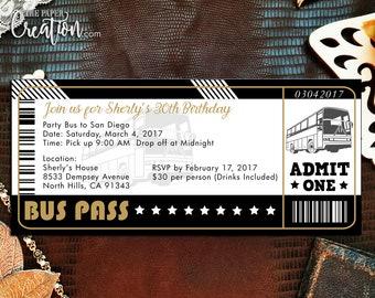 Bus Ticket Printable Digital Birthday Invitation, Save the Date, Bridal Shower, Rehearsal Dinner, Bus Pass Wedding Invite