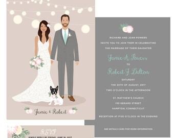 Custom couple portrait wedding invitation