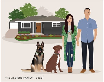 Custom Family Portrait, add pet