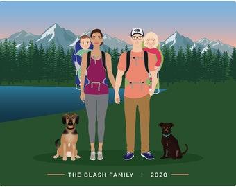 Custom family Portrait illustration