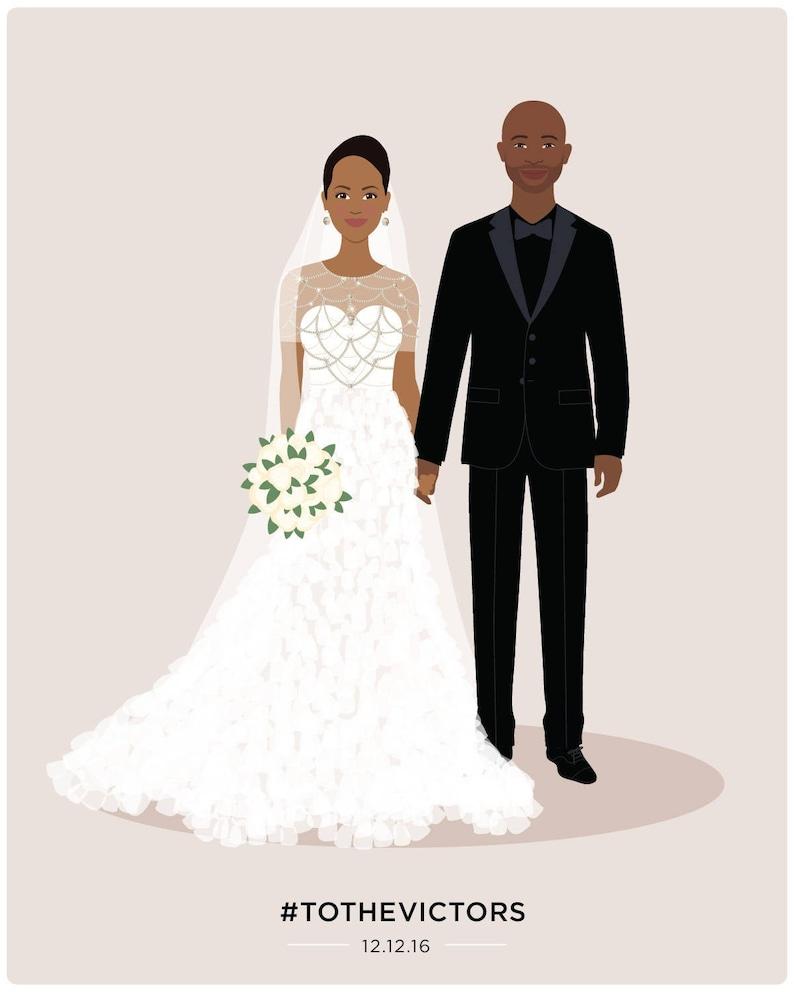 Custom wedding portrait paper anniversary gift wedding gift image 0