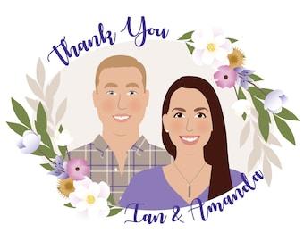 Custom portrait thank you cards