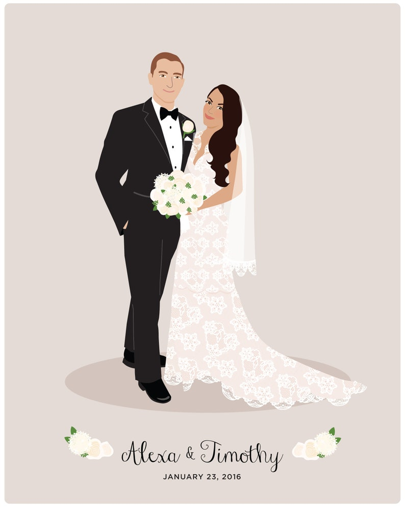 """You are married, and your first year is so great together, so you want to emphasize that marrying her or him is the best decision you ever made in your entire life. Get him or her a wedding portrait. A custom portrait in illustration style would be an interesting gift that will bring back the moment of """"Saying YES""""."""