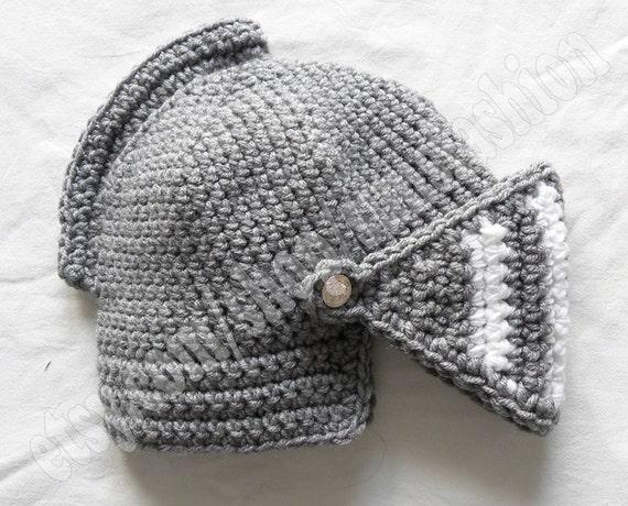 Ritter Helm Häkeln Mütze Hut Original Warm Schwarz Weiße Etsy
