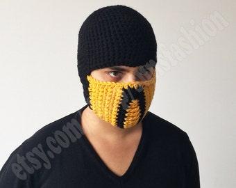 Scorpion Mortal Kombat FREE SHIPPING Costume Mask Crochet Beanie Hat Slouch Mens Handmade Winter Men Snowboard Ski Hat unisex game fashion