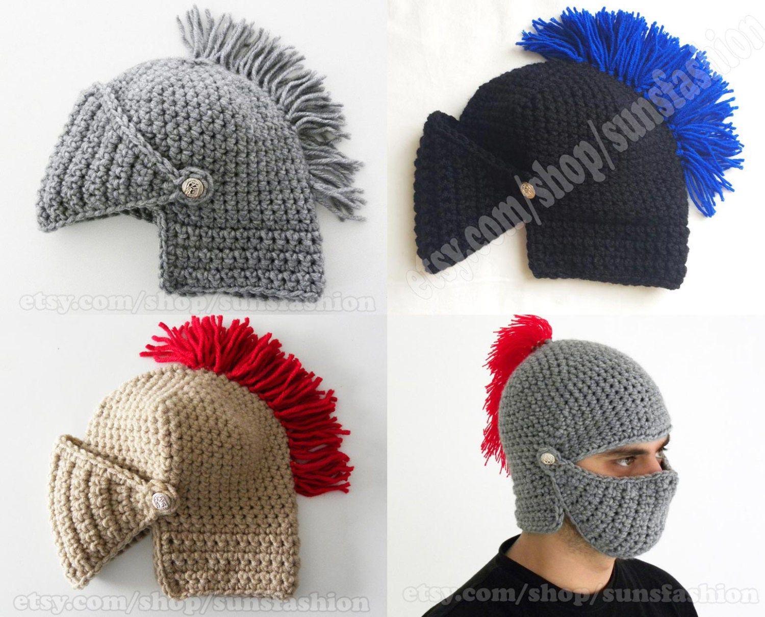 Mens Winter Boyfriend Gift Mens Knight Helmet Hat Crochet Etsy