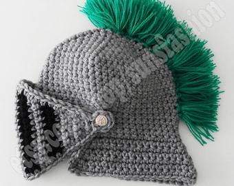 Crocheted Knight Helmet Hat Crochet Slouch Mens  green  Beanie Hat Handmade Winter Men Snowboard Ski Hat unisex