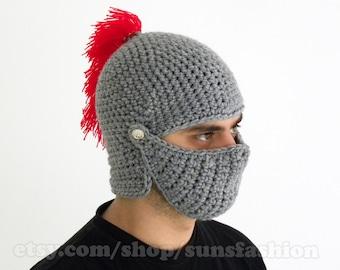 boyfriend gift mens gift FREE SHIPPING Knight Helmet Hat bane mask mens winter Red Hat Handmade Winter Men Snowboard Ski
