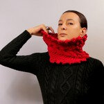 Cable Knit Scarf, Pure Wool Chunky Scarf, Red Infinity Cowl Scarf, Knit Loop Scarf, Neck Warmer, Red Neck Cowl, Winter Cowl