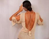 Open Back Top Cream, V Back Sweater, Backless Top, Cold Shoulder, Crochet Tunic Top, Backless Shirt, Linen Knit Blouse 3 4 Sleeve, V Neck