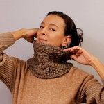 Knit Scarf, Chunky Cowl, Unique Infinity Cowl, Alpaca Wool, Knit Cowl, Tube Scarf, Neck Warmer, Leather Collar Scarf, Winter Gift For Her