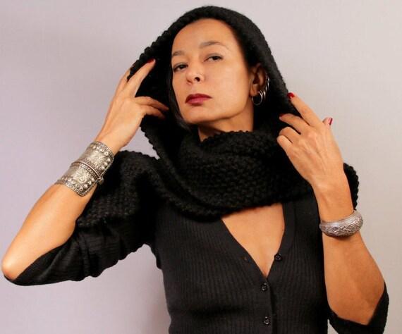 Schwarze Kapuzen-Schal Hand stricken Hoodie Kapuze Gugel | Etsy