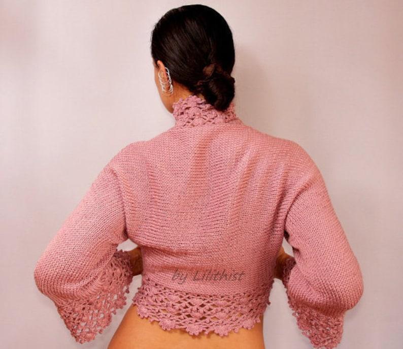 bd8e0be6d9 Rose Pink Crochet Shrug Sweater Cardigan Knit Shrug Bridal