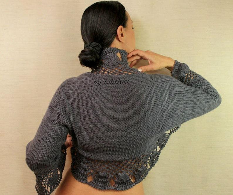 0823be1091 Crochet Shrug Charcoal Grey Knit Shrug Wedding Shrug Bolero