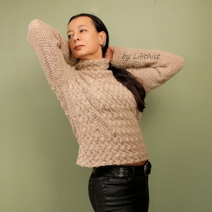 Hand knitted sweater with cowl  Hand Knit  Navy Blue  Women/'s clothing  Baby Alpaca  Merino Wool.