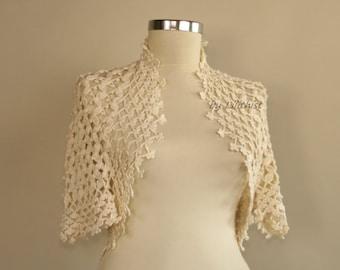 Summer Bridal Bolero Lace, Crochet Shrug Bolero, Bolero Wedding, Crochet Bolero Jacket, Lace Shrug, Bridal Shrug Ivory, Shrug Top