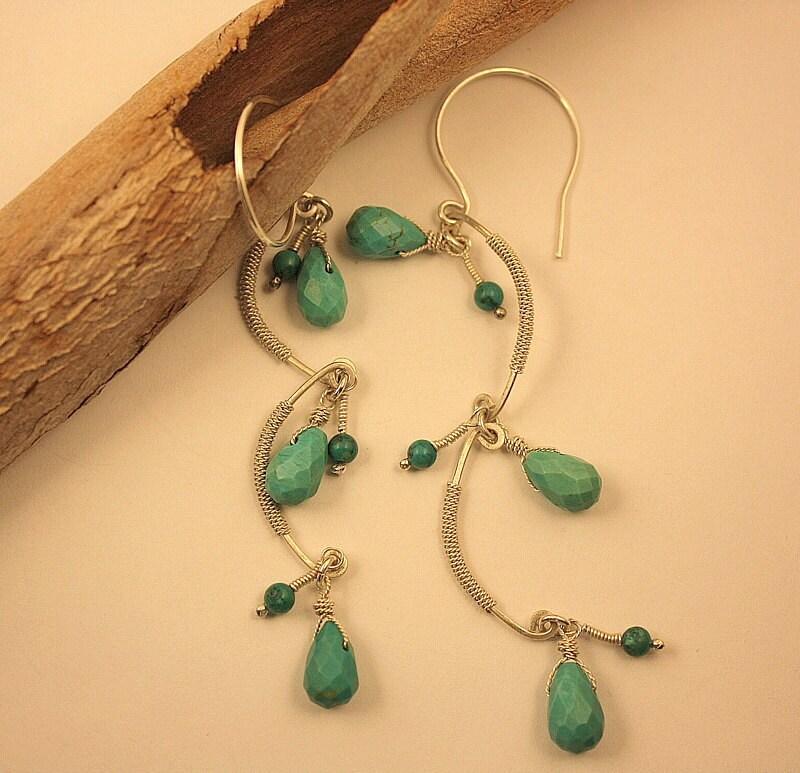 turquoise boho dangle earrings drop earrings long earrings. Black Bedroom Furniture Sets. Home Design Ideas
