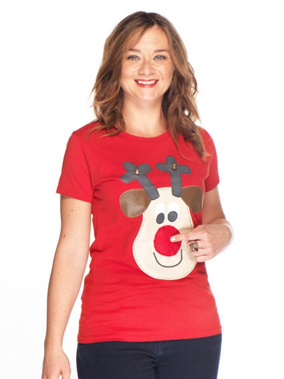 18f050c0 Ladies Rudolph Christmas t-shirt with squeaky nose bells | Etsy