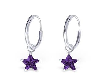 Sterling silver 925 purple amethyst hoop dangle earrings