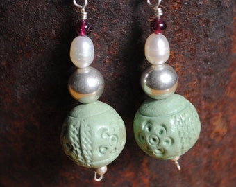 Green Clay earrings with pearl and garnet on sterling silver