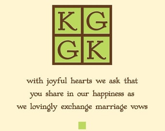 Custom wedding invitations, reply cards, thank you cards, directions, etc.